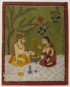 Indian. Couple Seated Under a Tree, ca. 1700. Opaque watercolors, gold, and silver on paper.