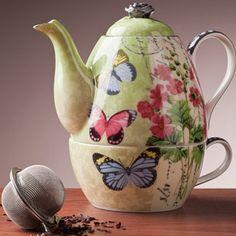 Butterfly Garden Tea Set for One