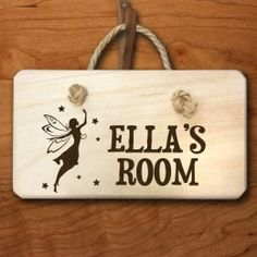 Personalised Fairy Engraved Door Hanger Pine wood hanging door sign, threaded with rustic woven cord. Kids Door Signs, Wooden Door Signs, Wooden Door Hangers, Wooden Doors, Wooden Art, Personalized Wooden Signs, Personalized Baby Gifts, Bedroom Door Signs, Room Signs