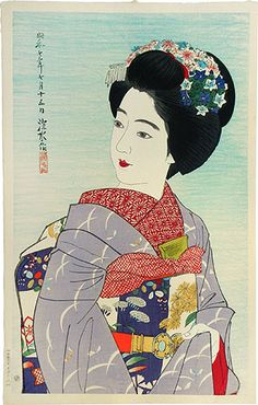 "Maiko Girl | Tattoo Ideas & Inspiration - Japanese Art | Ito Shinsui - ""The Second Series of Modern Beauties: Maiko Girl"" 