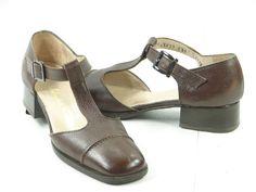 SALVATORE FERRAGAMO Brown T-Strap Loafers