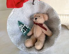 Ordered for Teddy 2015 - Vintage inspired jello tin Christmas diorama ornament with teddy bear and bottle brush tree