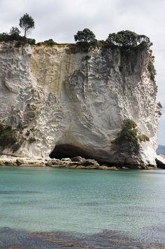 ✮ New Zealand, North Island, Coromandel, Stingray Cove, View of sandstone cliffs