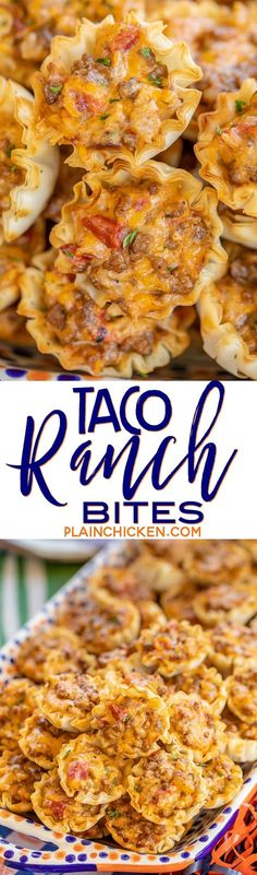 Taco Ranch Bites seriously delicious Only 6 ingredients Ground beef taco seasoning diced tomatoes and green chiles cheddar cheese ranch dressing and phyllo tart shells C. Finger Food Appetizers, Yummy Appetizers, Appetizers For Party, Finger Foods, Appetizer Recipes, Snack Recipes, Party Snacks, Tailgating Recipes, Party Nibbles