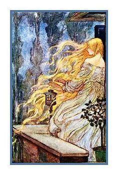 Pre Raphaelite Florence Harrison Rapunzel Fairy Tale Counted Cross Stitch Chart