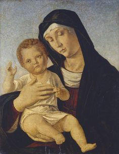 Bellini Giovanni (bottega di) -Madonna con Bambino benedicente -  1480 ca. - Accademia Carrara di Bergamo Pinacoteca