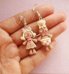 Gingerbread Man Earrings Christmas Earrings Dangle