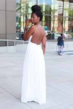 Backless White Dress - Essence Festival Brianna Glover