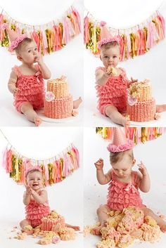 Vivienne's cake smash. Photos: Claire Collyer, Newcastle, NSW. Cake: Baking Life Sweeter. Styling: Vivienne's mother.
