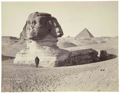 """J. P. Sébah, """"The Great Sphinx at Giza looking southwest"""" Museum of Fine Arts, Boston."""