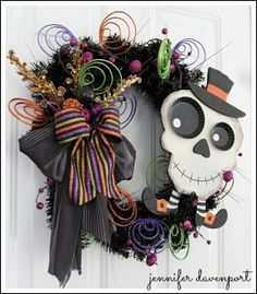 Whimsical Skeleton Halloween Wreath