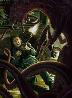 By Clark Huggins via . Cthulhu Art, Call Of Cthulhu Rpg, Lovecraft Cthulhu, Sci Fi Horror, Arte Horror, Horror Art, Dark Fantasy Art, Dark Art, Lovecraftian Horror