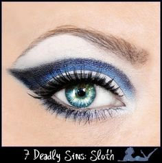 7 Deadly Sins | Sloth blue, white and navy eye makeup
