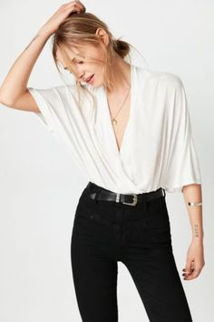 Silence + Noise Night Owl Surplice Top - Urban Outfitters