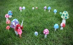 Tutorial for weather resistant mushrooms made from plastic Easter egg halves, tin foil, acrylic pain.