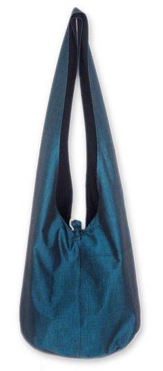 Silk and cotton sling handbag, 'Sky Season' - Artisan Crafted Silk and Cotton Sling Handbag