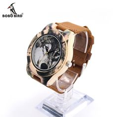 New Fashion BOBO BIRD printing Wolf Dial Bamboo Wooden Watches Genuine Brown Cow Leather Strap Analog Casual Wood Quartz Watches Cow Leather, Leather Case, Wooden Man, Wooden Watches For Men, Wood Clocks, Cool Things To Buy, Stuff To Buy, Watch Case, Casio Watch