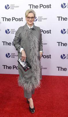 "Meryl Streep Sports Semi-Sober Feathers at ""The Post"" DC Premiere | Tom + Lorenzo"