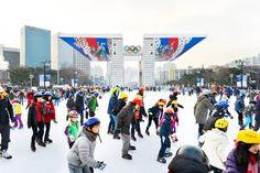 Ice Skating at Olympic Park in Seoul, Korea