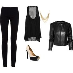 love all black..and the shoes are great, but I'd put something brighter/bolder with an all black outfit
