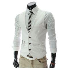 Men' Fit Dress Suit Vest Waist coats, Men Colete Fashion