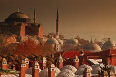 Sunrise over Hagia Sophia - Istanbul, Turkey What A Wonderful World, Wonderful Places, Beautiful World, Beautiful Places, Hagia Sophia Istanbul, Sainte Sophie, Istanbul Travel, Place Of Worship, Istanbul Turkey