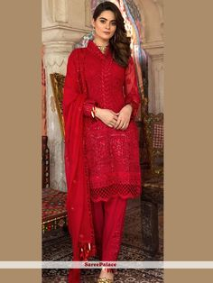 Be the sunshine of everybody's eyes dressed in this red faux georgette designer pakistani suit. The ethnic embroidered and resham work with a dress adds a sign of elegance statement with a look. Comes with matching bottom and dupatta. Walima Dress, Pakistani Formal Dresses, Pakistani Outfits, Latest Pakistani Fashion, Pakistani Suits Online, Punjabi Suits, Indian Fashion, Dress Indian Style, Indian Dresses