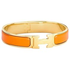 Pre-owned Hermes H Clic Orange Gold Bangle Bracelet Pm ($599) ❤ liked on Polyvore featuring jewelry, bracelets, accessories, yellow gold bangle bracelet, gold bangles, bracelets bangle, gold jewellery and orange bangles