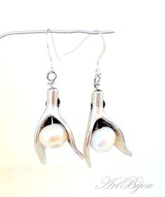 Silver Earrings – Silver Earrings, Pearl Earrings, Dangle, Wedding – a unique product by ArtBijou on DaWanda