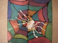Looks like black paper, dried liquid glue for the web, pastels, and aluminum foil for the spider Spider Art, 2nd Grade Art, Halloween Art, Preschool Halloween, Halloween Activities, Preschool Art, School Art Projects, School Ideas, Art Classroom