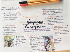 Resuminho de Vanguardas Europeias, o assunto mais pedido do post de sugestões! Não sei desenhar muito bem essas pinturas tão complexas, mas é interessante ver um exemplo de obra de cada vanguarda na internet! ✍ - #ResumoGe - _ #enem #resumo #mapamental #enem2017 #medicina #direito #studygram