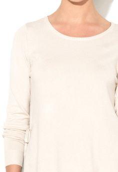 Vila Bluza bej deschis tricotata fin cu slituri laterale Heleni Femei