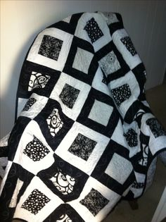 "Black and White Quilt - Made from 5"" Squares and Bordered with 2-1/2"" Strips - Very Fast and Easy"