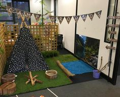 Our dramatic play area - Camping Camping Dramatic Play, Dramatic Play Themes, Dramatic Play Area, Dramatic Play Centers, Preschool Dramatic Play, Play Based Learning, Learning Through Play, Role Play Areas Eyfs, Home Daycare