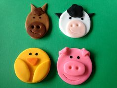 Edible Fondant Farm Animal Cupcake or Cookie Toppers Assortment - Set of 12. $12.95, via Etsy.