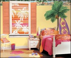I love the yellow! Decorating theme bedrooms - Maries Manor: beach theme bedrooms - surfer girls - surfer boys - coastal living style - surfing themed bedroom ...