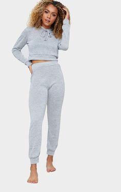 Ladies Embroided Sweatshirt Jogger Loungewear Tracksuit Set Crew Neck Casual8-14