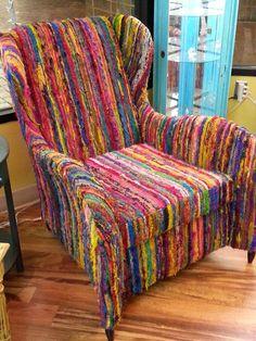 Unique multi-color wing chair