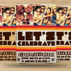 Retro Graduation Party Invitation Card by FionaCreatiiv on Etsy, $4.00