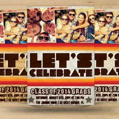 Retro Graduation Party Invitation Card by FionaCreatiiv on Etsy, $4.00