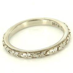 Antique Art Deco 18 Karat White Gold Traub Orange Blossom Eternity Stack Ring $495