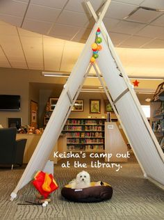 Keisha, the library dog, hanging out in the tent set up for Eldridge's Summer Reading Program. (Tent not dog) Girl Scout Silver Award, Tent Set Up, Summer Reading Program, Librarians, Library Ideas, Girl Scouts, Hanging Out, Programming, Dog