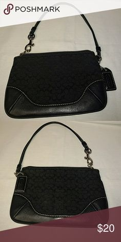 9b322e55b0 Coach mini purse Black leather n cloth mini purse size (6x4). Coach Bags