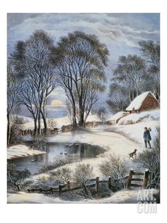 Currier & Ives: Winter Moonlight Print by Currier & Ives at Art.com