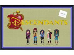 The Descendants etsy Cross Stitch DIGITAL PDF pattern only Disney Mal, Jay, Evie, Carlos, and Uma by knottybytes. $5.