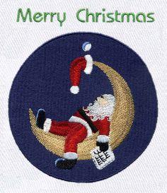 Santa on the Moon Embroidery Design | AnnTheGran