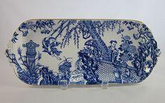 ROYAL CROWN DERBY 'Blue Mikado' c.1940 large sandwich tray RARE