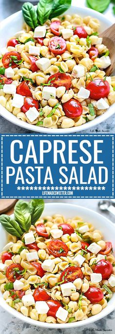 This Caprese Pasta Salad is the perfect easy side dish for summer potlucks, barbecues, cookouts and parties. it's easy to make ahead and takes under 20 minutes to put together. Lefotvers keep well for work or school lunchboxes or lunch bowls. Packed with mozzarella, cherry tomatoes and fresh basil coated in a light and refreshing 4 ingredient balsamic dressing.