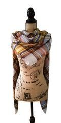 Harvest Gold Tartan Plaid Oversized Blanket Scarf - ONE SIZE / GOLD + BROWN