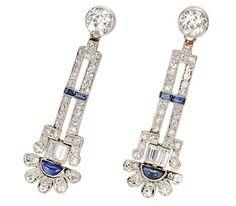 Art Deco. Platinum, Sapphire and Diamond Drop Earrings, c1925.